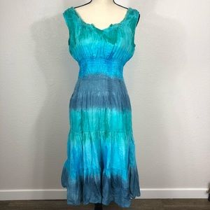 Mlle Gabrielle Hand Dyed Peasant Dress Lg Tie Dye